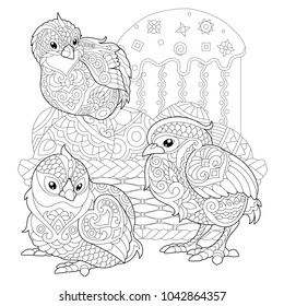 Chicks Around Basket With Easter Eggs And Cake Coloring Page For Adult Colouring Book