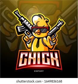 Chicks mascot esport logo design