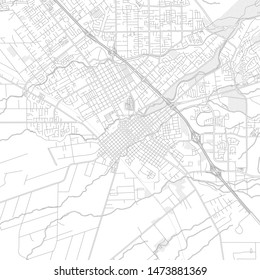 Chico, California, USA, bright outlined vector map with bigger and minor roads and steets created for infographic backgrounds.