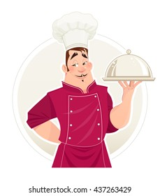 Chief cook with tray for food vector illustration man in cooks uniform cartoon character