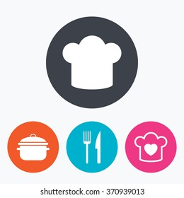 Chief hat and cooking pan icons. Fork and knife signs. Boil or stew food symbols. Circle flat buttons with icon.