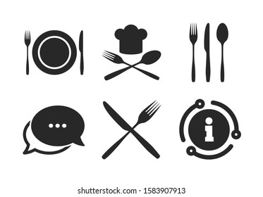 Chief hat sign. Chat, info sign. Plate dish with forks and knifes icons. Crosswise cutlery symbol. Dining etiquette. Classic style speech bubble icon. Vector