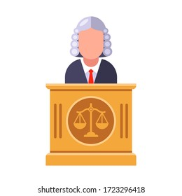 the chief judge of the tribunal pronounces the sentence. Flat character vector illustration.