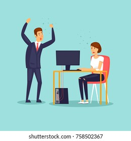 Chief screams at the employee. Flat design vector illustration.
