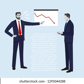 The chief shouts at the subordinate in connection with falling of sales. A businessman  or manager thinking, Down arrows, statistic financial graphic, Vector illustration.