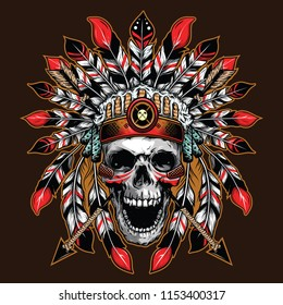 chief skull illustration background for shirt design