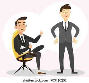 Chief and subordinate. friends businessmen communicate. Friends businesspeople at office. report on the work performed.