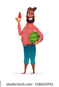 Chifull farmer holding slice of watermelon. Character design illustration