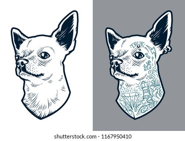 Chihuahua dog art. Vector dog two versions: clean and with old school tattoos and piercing. Little brave hipster pet.