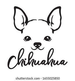 Chihuahua dog face line art sketch vector illustration.