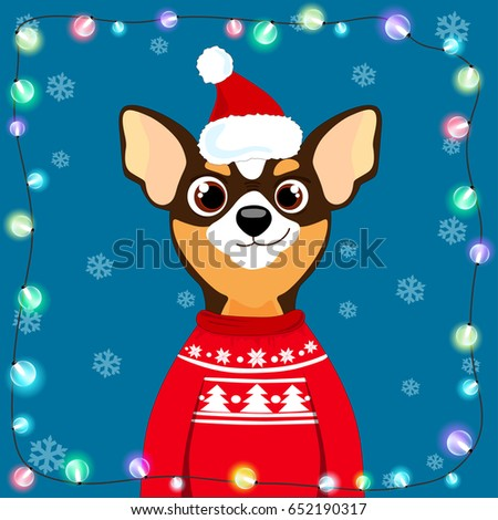 Chihuahua Dog Sweater Christmas Hat 2018 Stock Vector Royalty Free