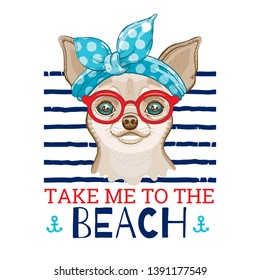Chihuahua dog in vintage haiband & red glasses. Cute cartoon trendy puppy, doggy art for girl t-shirt print, tee fashion design. Isolated on white, navy stripes background. Sea summer humour slogan