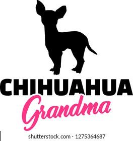 Chihuahua Grandma silhouette in black