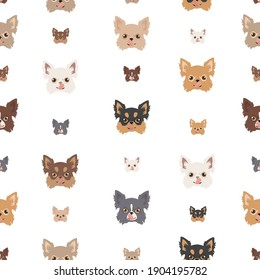 Chihuahua seamless pattern. Dog healthy silhouette and different poses background.  Vector illustration