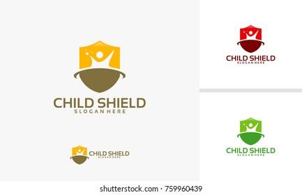 Chiild Care logo template, Child Shield logo designs vector