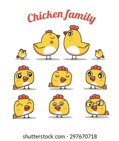 chiken dad and son .set chickens with different emotions