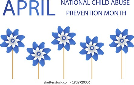 Child Abuse Prevention and awareness month of April. Stop child violence. Children protection and safety month. Poster with blue pinwheels. Banner, background. Vector illustration