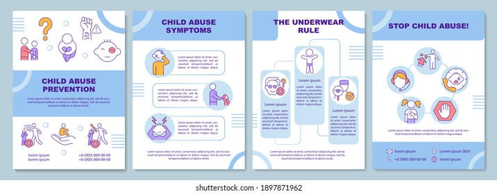 Child abuse prevention brochure template. Protect minors. Flyer, booklet, leaflet print, cover design with linear icons. Vector layouts for magazines, annual reports, advertising posters