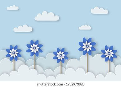 Child Abuse Prevention month of April. Stop child violence. Children protection and safety month. Child Abuse Awareness background. Poster with blue pinwheels. Banner, poster. Vector illustration