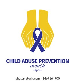 Child Abuse Prevention month. Blue ribbon in the hands of man. Vector illustration