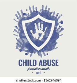 Child abuse prevention month card or background. vector illustration.