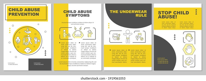 Child abuse prevention yellow brochure template. Protect minors. Flyer, booklet, leaflet print, cover design with linear icons. Vector layouts for magazines, annual reports, advertising posters