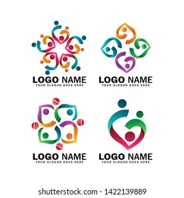 Child adoption logo collections and charitable foundations, pack of logos of happy family symbols, midwives, communities and social relations