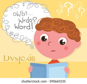 Child affected by dyslexia reading a book, vector illustration