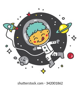 Child astronaut in space. Vector illustration. Excellent print on baby t-shirt.