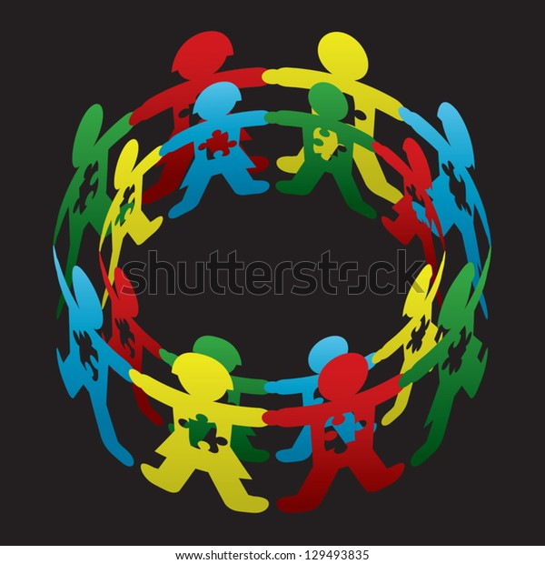Child Autism Circle of Hope Vector Art