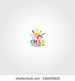 Child and baby Care day vector logo design