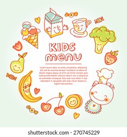 Child and baby food, kids menu with colorful smiling fruits, vegetables, sweets, cookies . Vector modern illustration, stylish design element