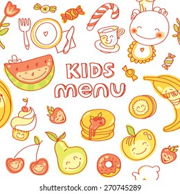 Child and baby food, kids menu with colorful smiling fruits, vegetables, sweets, cookies. Vector modern illustration, stylish design element, seamless pattern cover for menu