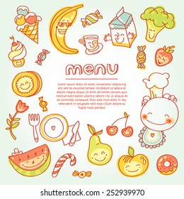 Child and baby food, menu with colorful fruits, vegetables, sweets, cookies with smile. Vector modern illustration, stylish design element