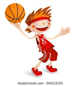 Child basketball player. The smiling boy with a ball. Vector illustration isolated on a white background for sports design.