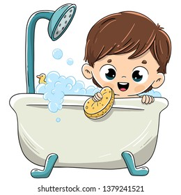 Child bathing in the bathtub with foam
