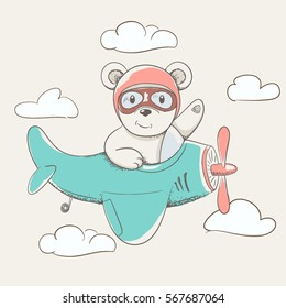 child bear flying in the sky on plane hand drawn vector illustration.Childish cartoon design for kid t-shirts,dress or greeting cards.