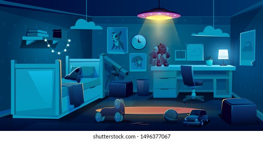 Child bedroom for boy at night, dark empty kid room interior design with bed, table, glowing ufo lamp, telescope Schoolboy or preschooler home place with furniture and toys Cartoon vector illustration