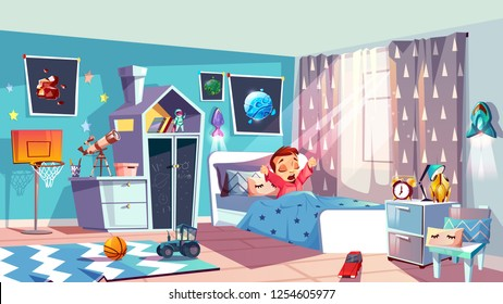 Child bedroom interior cartoon vector with furniture, telescope, toys on floor, planets pictures on walls and little kid in bed yawning and stretching after waking up in morning. Young space explorer