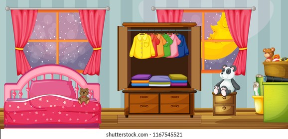 bedroom clipart images stock photos vectors shutterstock https www shutterstock com image vector child bedroom template illustration 1167545521