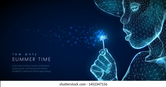 Child blowing dandellion. Low poly style design. Abstract geometric background. Wireframe light connection structure. Modern 3d graphic concept. Isolated vector illustration.