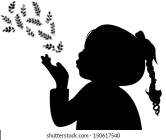 a child blowing out leaves, silhouette vector