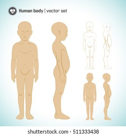 Child body in different views set isolated vector illustration
