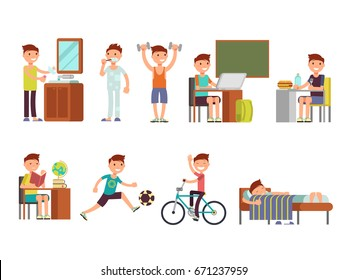 Child boy daily routine vector set. Routine school boy, illustration of daily sleeping everyday