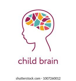 Child brain icon. Brain research, creativity and memory concept
