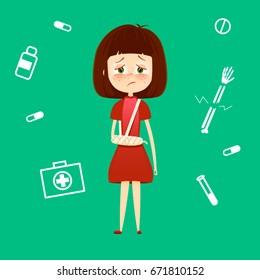 Child broken arm in cast. Sad young girl with broken hand bone vector illustration. Health care medical concept.