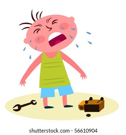 Child with a broken toy crying - vector