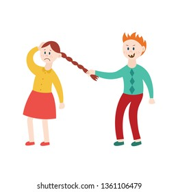 Child bully tormenting victim - mean angry boy pulling sad girl by the hair. Young brother sister conflict, flat cartoon characters vector illustration isolated on white background.