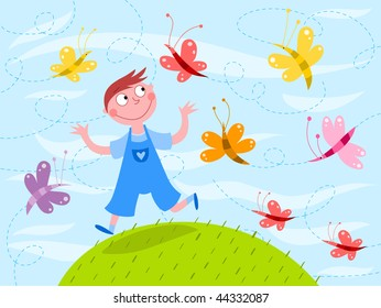 Child and butterflies - vector