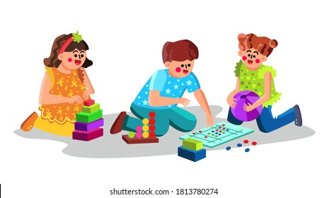 Child Care Center Children Playing Toys Vector. Little Kids Boy And Girl Play Game And Enjoying In Child Care Kindergarten. Preschool Characters Playful Time Playroom Flat Cartoon Illustration